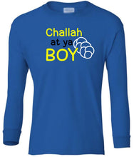 Load image into Gallery viewer, blue challah youth long sleeve Hanukkah T Shirt