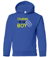 Load image into Gallery viewer, blue challah youth hooded Hanukkah sweatshirt