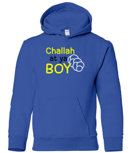 blue challah youth hooded Hanukkah sweatshirt