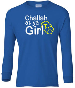 blue challah youth long sleeve Hanukkah T Shirt