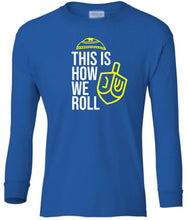 Load image into Gallery viewer, blue dreidel youth long sleeve Hanukkah T Shirt