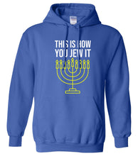 Load image into Gallery viewer, blue Jew it Hanukkah Hooded Sweatshirt