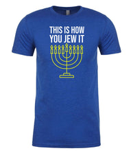 Load image into Gallery viewer, blue Jew It men's Hanukkah t shirt