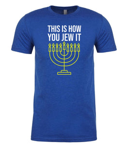 blue Jew It men's Hanukkah t shirt