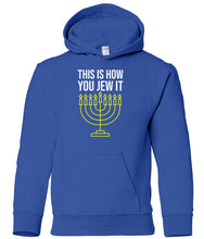 Load image into Gallery viewer, blue jew it toddler hooded Hanukkah Sweatshirt