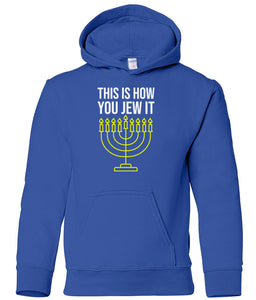 blue jew it toddler hooded Hanukkah Sweatshirt