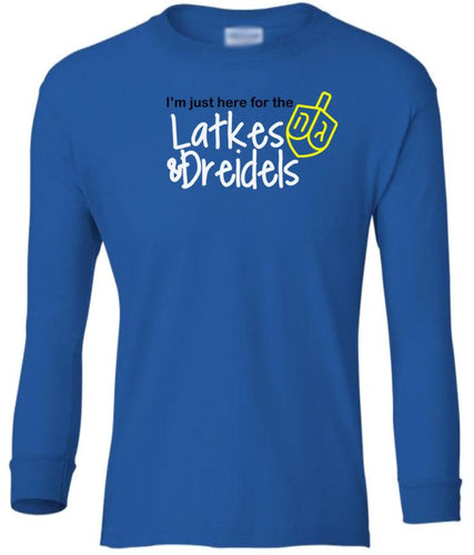 blue latkes youth long sleeve Hanukkah T Shirt