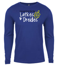 Load image into Gallery viewer, blue latkes men's long sleeve Hanukkah T Shirt
