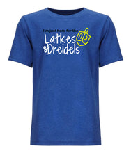 Load image into Gallery viewer, blue latkes and dreidels toddler Hanukkah t shirt