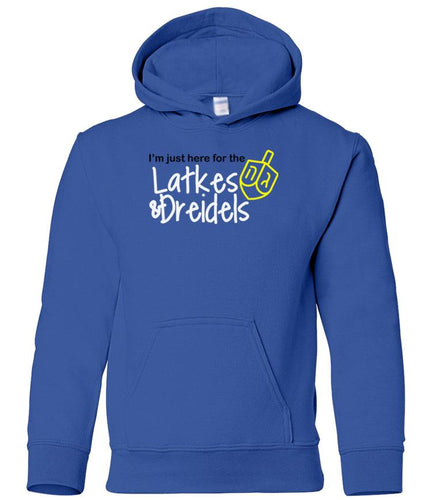 blue latkes youth hooded Hanukkah sweatshirt