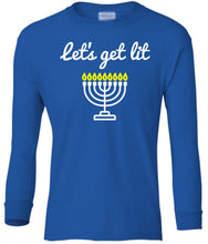 Load image into Gallery viewer, blue menorah youth long sleeve Hanukkah T Shirt