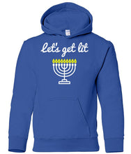 Load image into Gallery viewer, blue menorah toddler hooded Hanukkah Sweatshirt