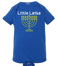 Load image into Gallery viewer, blue latke infant Hanukkah onesie