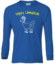 Load image into Gallery viewer, blue llamukkah youth long sleeve Hanukkah T Shirt