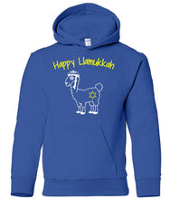 Load image into Gallery viewer, blue llamukkah  toddler hooded Hanukkah Sweatshirt