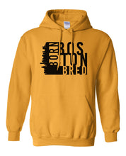 Load image into Gallery viewer, gold Boston born and bred hoodie
