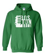 Load image into Gallery viewer, green Boston born and bred hoodie