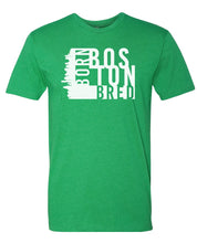 Load image into Gallery viewer, green Boston born and bred t-shirt