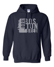 Load image into Gallery viewer, navy Boston born and bred hoodie
