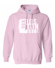 Load image into Gallery viewer, pink Boston born and bred hoodie