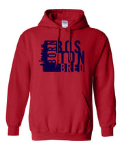 Load image into Gallery viewer, red Boston born and bred hoodie