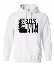 Load image into Gallery viewer, white Boston born and bred hoodie