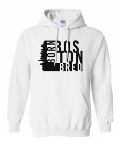 white Boston born and bred hoodie