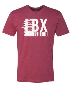 maroon Bronx born and bred t-shirt