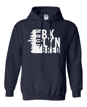 Load image into Gallery viewer, navy Brooklyn born and bred hoodie