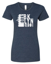 Load image into Gallery viewer, navy Brooklyn born and bred women's t-shirt