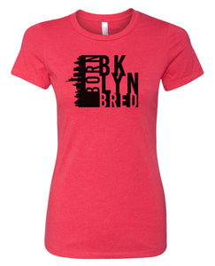 red Brooklyn born and bred women's t-shirt