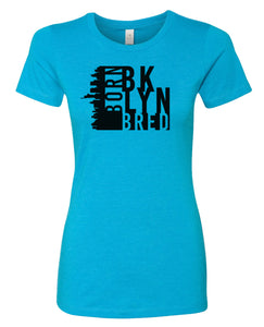 turquoise Brooklyn born and bred women's t-shirt