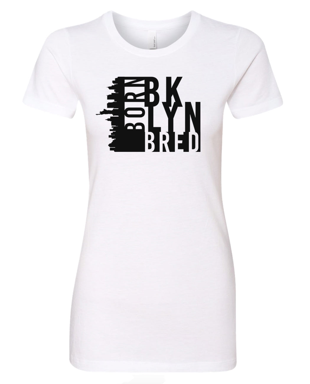 white Brooklyn born and bred women's t-shirt