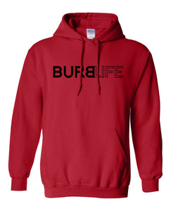 red burb life pullover hoodie