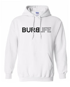 white burb life pullover hoodie