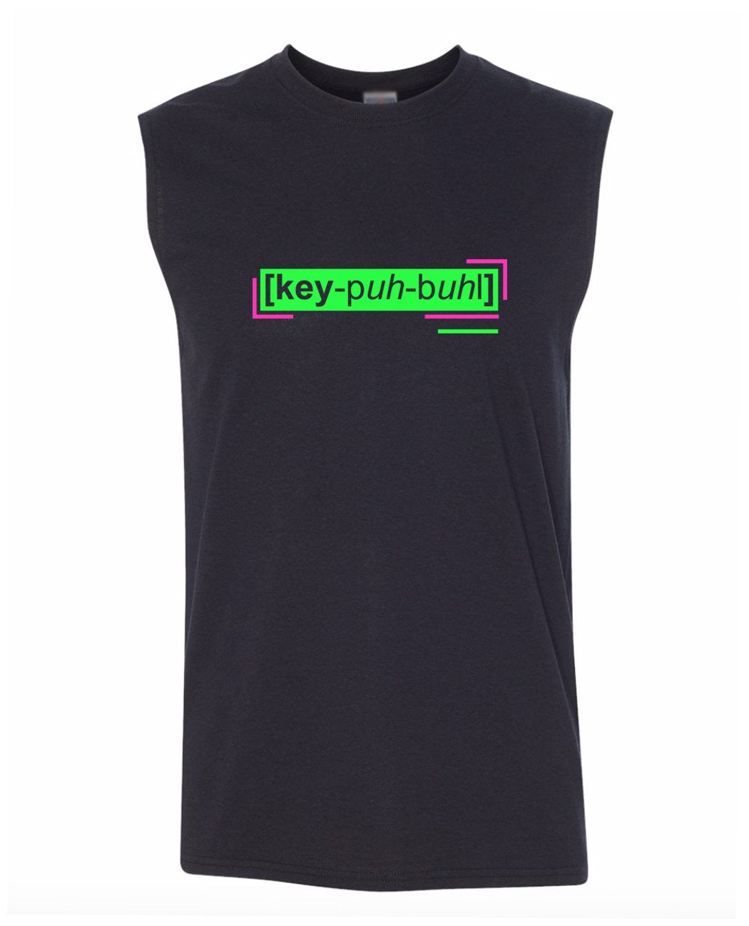 florescent green capable men's sleeveless t shirt tank top