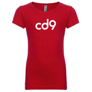 red CD9 crewneck t shirt for girls