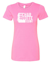 Load image into Gallery viewer, pink Charlotte born and bred women's t-shirt