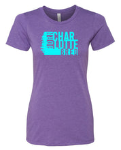 Load image into Gallery viewer, purple Charlotte born and bred women's t-shirt