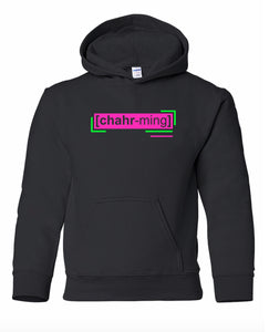 florescent pink charming youth kids neon streetwear hooded sweatshirt