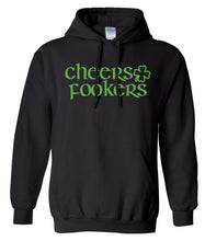 Load image into Gallery viewer, black cheers St Pattys Day hoodie