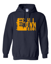 Load image into Gallery viewer, navy chi-town Chicago born and bred hoodie
