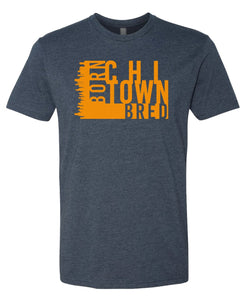 navy Chicago born and bred t-shirt