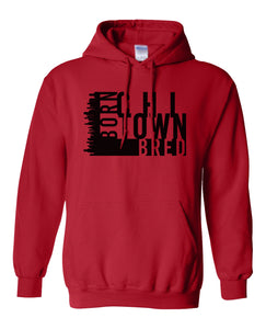 red chi-town Chicago born and bred hoodie