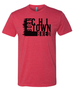 red Chicago born and bred t-shirt