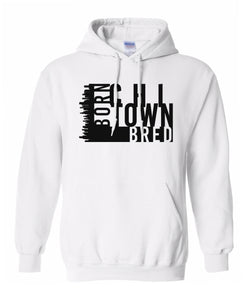 white chi-town Chicago born and bred hoodie
