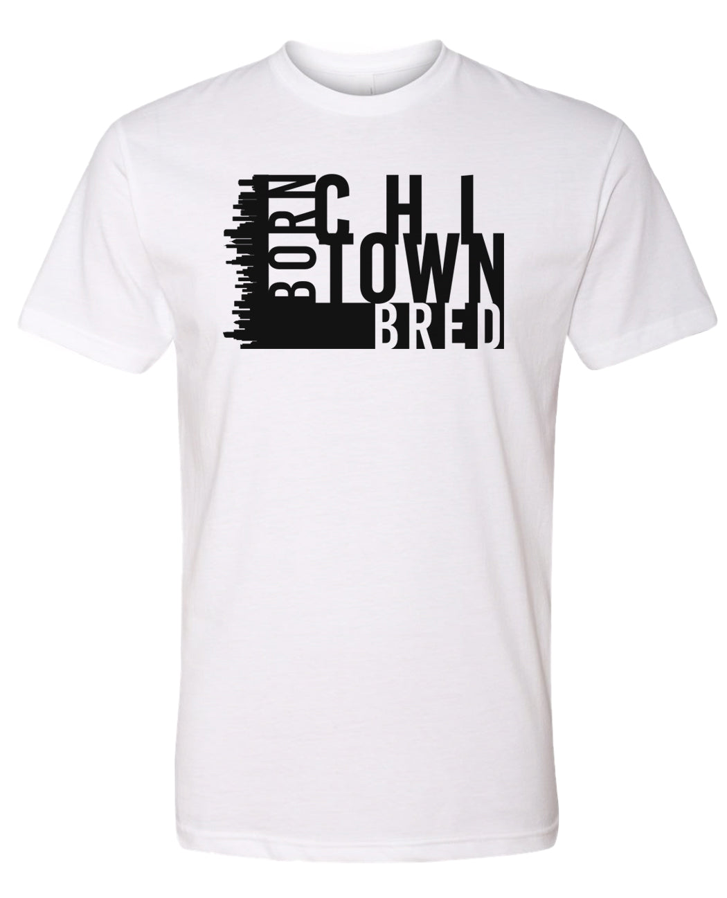 white Chicago born and bred t-shirt