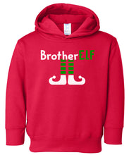 Load image into Gallery viewer, red brother elf hooded toddler Christmas sweatshirt