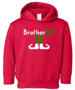 red brother elf hooded toddler Christmas sweatshirt