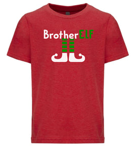 red brother elf youth kids Christmas t shirt
